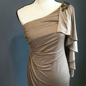 CAChe cocktail dress matalic gold size 6